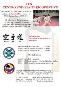 Inizio Corsi Karate Stagione 2015-2016